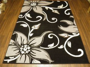 Modern Approx 7x5 150x210cm Woven Lily Design Rugs Sale Top Quality Black/Grey